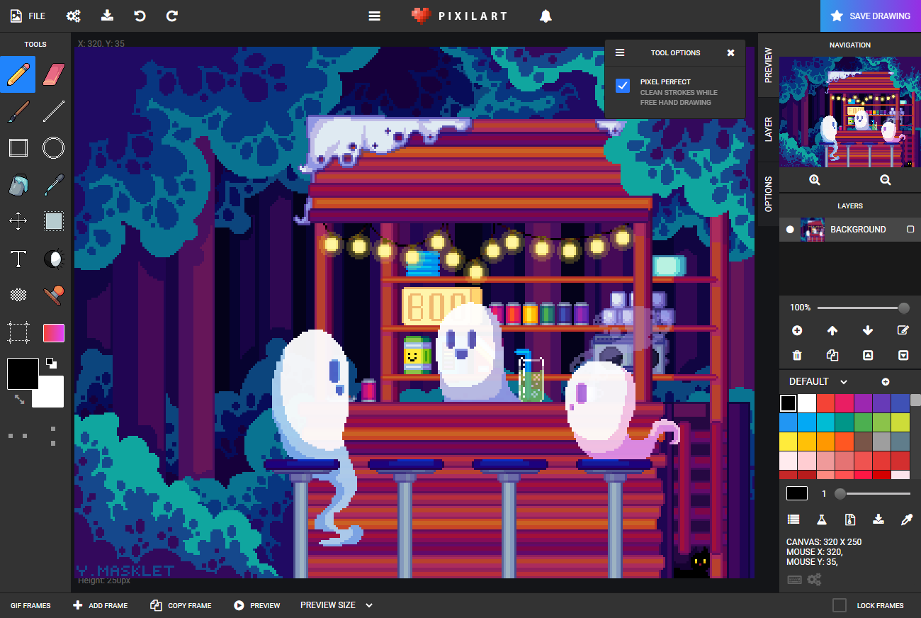 pixilart drawing application features